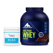 BCAA Kapseln (300 Kapseln) + Multipower 100% Pure Whey Protein (2000g)