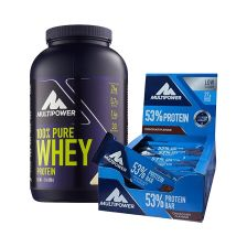 100% Pure Whey Protein (900g) + 53% Protein Bar (24x50g)