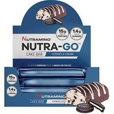 Nutra-Go Protein Cake Bar - 16x38g - Cookies & Cream - MHD 31.12.2018