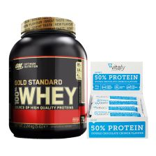 50% Protein Riegel (12x45g) + Optimum Nutrition 100% Whey Gold Standard (2273g)