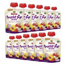 12 x Bio-Pouchy ab dem 8. Monat Apfel & Pfirsich mit Waldbeeren (12x90g)
