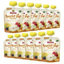 12 x Bio-Pouchy ab dem 6. Monat Birne, Apfel & Heidelbeere mit Hafer (12x90g)
