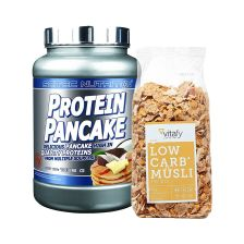 Low Carb Müsli im Beutel (525g) + Scitec Protein Pancake (1036g)