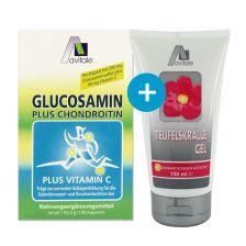 Glucosamin Kapseln 500mg (180 Kapseln) + Teufelskralle Gel (150ml) - Gratiszugabe
