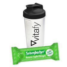 4 x Saurer Apfel Riegel (4x50g) + Vitafy Shaker (600ml)