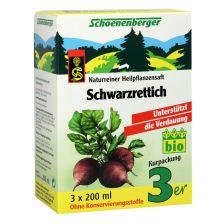 Schwarzrettich Naturreiner Heilpflanzensaft bio (3x200ml)