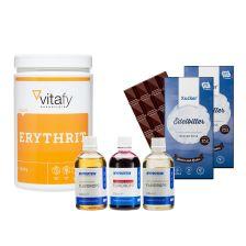Erythrit (1000g) + 3x MyProtein FlavDrops (3x50ml) + 2x Xucker Schokolade