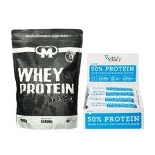 50% Protein Riegel (12x45g) + Mammut Whey Protein (1000g)