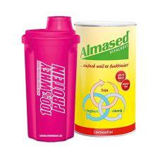 Vitalkost Laktosefrei Pulver Almased (500g) + IronMaxx Shaker Neon Pink (700ml)