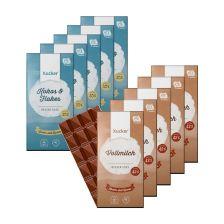 5 x Xylit-Vollmilchschokolade (5x100g) + 5 x Kokos & Flakes Weiße Schokolade (5x100g)