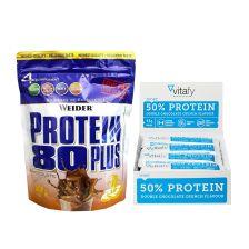 50% Protein Riegel (12x45g) + Weider Protein 80 Plus (500g)