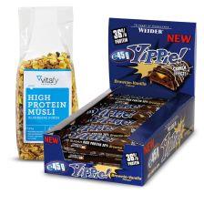 YIPPIE! Bar (12x70g) + vitafy essentials High Protein Müsli Blaubeere Kokos (525g)