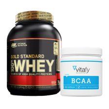 BCAA Kapseln (90 Kapseln) + Optimum Nutrition 100% Whey Gold Standard (2273g)