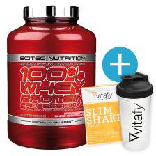 Scitec Nutrition 100% Whey Protein Professional (920g) + Vitafy Essentials Shaker (600ml) / Diät Slim Shake Vanille (50g) gratis