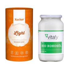 1x有机椰子油(1000毫升) 1x赤藓糖醇(1000克)   1 x Bio Kokosöl (1000ml)   1 x Xucker light europ. Erythrit (1000g)