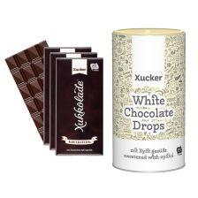 3 x Xucker Edelbitterschokolade (3x100g) + 1 x weiße Schokodrops mit finnischem Xylit (750g)