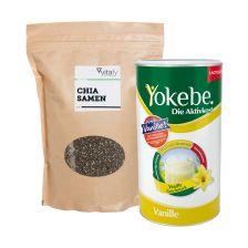 Yokebe Aktivkost Vanille Pulver Lactosefrei (500g) + Vitafy Essentials Chia Samen (1000g)