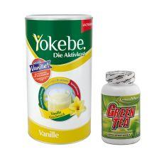 Yokebe Aktivkost Vanille Pulver Lactosefrei (500g) + Green Tea