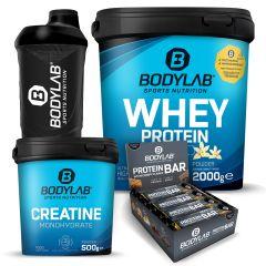 Whey Protein (2000g) + Creatine Powder (500g) + Crispy Protein Bar (12x65g) + gratis Shaker