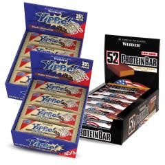 2 x YIPPIE! Bar Triple Chocolate (12x45g)+ 1 x 52% Protein Bar Erdnuss-Karamell (24x50g)