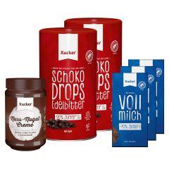 2 x Xucker Schokodrops mit finnischem Xylit Dose (2x750g) + 3 x Xylit-Vollmilchschokolade (3x80g) + Nunux Nuss-Nougat Creme mit Xylit (300g)