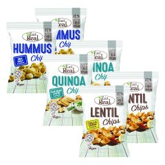 2 x Quinoa Chips Sour Cream & Chives (2x113g) + 2 x Lentil Chips Chilli & Lemon (2x113g) + 2 x Hummus Chips Sea Salt (2x135g)