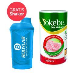 Yokebe Aktivkost Erdbeer Pulver (500g) + GRATIS Bodylab 24 Shaker