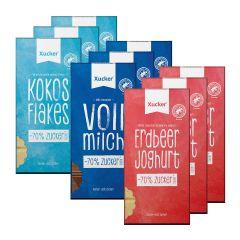 3 x Xylit-Vollmilchschokolade (3x80g) + 3 x Kokos & Flakes Weiße Schokolade (3x80g) + 3 x Erdbeer-Joghurt Weiße Schokolade (3x100g)