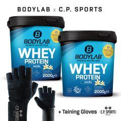 2 x 2kg Bodylab24 Whey Protein + Profi Handschuhe