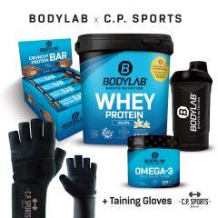 1 x 1000g Whey Protein + Crunchy Protein Bar (12x64g) + Omega 3 TG (120 Kapseln) + BL24 Shaker + Profi Handschuhe