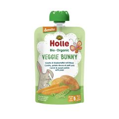Demeter Veggie Bunny - Pouchy Karotte & Süsskartoffel mit Erbsen, ab dem 6. Monat (100g)
