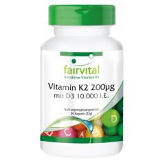 Vitamin K2 200µg mit D3 10000 I.E. (90 Kapseln)