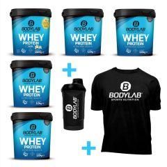 Whey Special (5 x 1000g Whey Protein, T-Shirt und Shaker)
