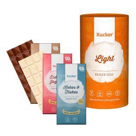 Xucker light europ. Erythrit (1000g) + Xylit-Vollmilchschokolade Xukkolade (100g) + Weiße Schokolade Crunchy Coconux (100g) + Xylit Erdbeer-Joghurt-Schokolade (100g)
