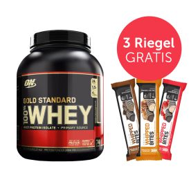 100% Whey Gold Standard Double Rich Chocolate (2273g) + 3 x Proteinriegel Gratis! (3x76g)