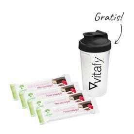 4 x Glücksmoment Proteinriegel (4x45g) + Vitafy Shaker (600ml)