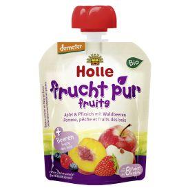 泓乐有机苹果,桃和野果奶昔 8个月起 90g  Bio-Pouchy Apfel & Pfirsich mit Waldbeeren, ab dem 8. Monat (90g)