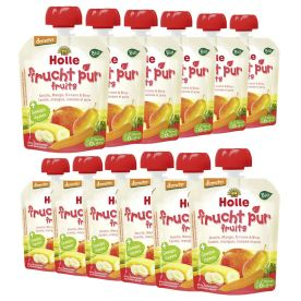 12 x Bio-Pouchy ab dem 6. Monat Karotte, Mango, Banane & Birne (12x90g)