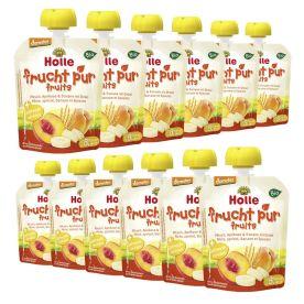 12 x Bio-Pouchy ab dem 8. Monat Pfirsich, Aprikose & Banane mit Dinkel (12x90g)