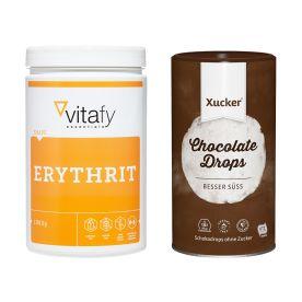 Vitafy Essentials Erythrit (1000g) + Xucker Schokodrops mit finnischem Xylit Dose (750g)
