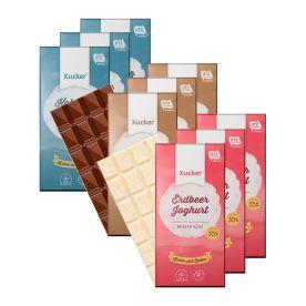 3 x Xylit-Vollmilchschokolade (3x100g) + 3 x Kokos & Flakes Weiße Schokolade (3x100g) + 3 x Erdbeer-Joghurt Weiße Schokolade (3x100g)