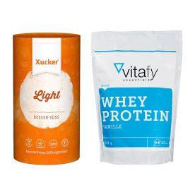 Xucker light europ. Erythrit (1000g) + vitafy essentials Whey Protein Essentials (1000g)