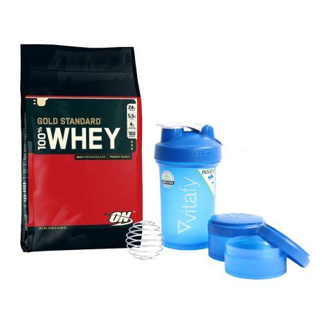 100% Whey Gold Standard (4545g) + Blender Bottle Vitafy Prostak (650ml)
