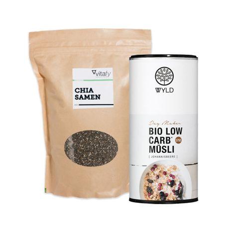 Bio Low Carb* Müsli (575g) + Vitafy Essentials Chia Samen (1000g)