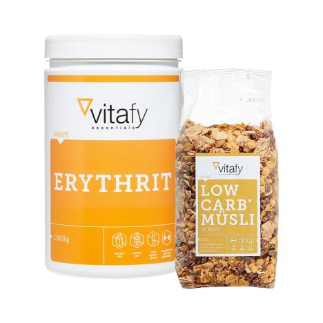 Erythrit (1000g) + Vitafy Essentials Low Carb Müsli (525g)