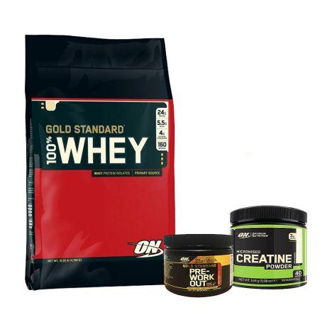 100% Whey Gold Standard (4545g) + Micronized Creatine Powder (144g) + Gold Standard Pre-Work Out (88g)