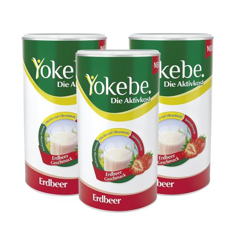 3 x Yokebe Aktivkost Erdbeer Pulver (3x500g)