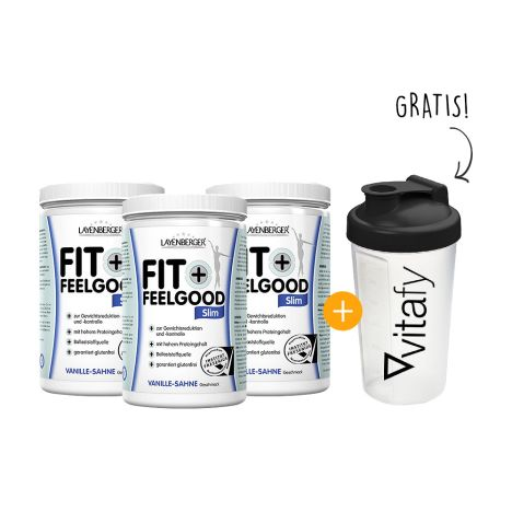3 x Fit+Feelgood Mahlzeitersatz SLIM (3x430g) + Vitafy Shaker (600ml) gratis!