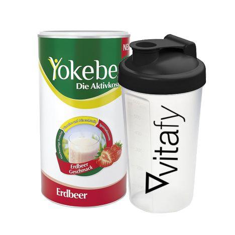 Yokebe Aktivkost Erdbeer Pulver (500g) + GRATIS Vitafy Shaker (600ml)