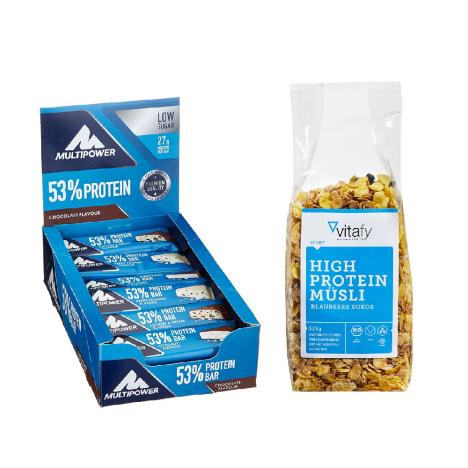 53% Protein Bar Chocolate (24x50g) + Vitafy Essentials High Protein Müsli (525g)